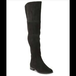 Over the Knee Black Suede Boots Size 5.5